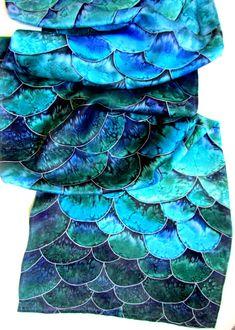 Silk scarf. Hand painted Silk scarf.Turquoise by OlgaGorbunovaArt