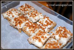 Recipe for Skor bar squares with Ritz crackers for the base