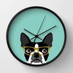 Darby - Boston Terrier pet design with hipster glasses in bold and modern colors for pet lovers