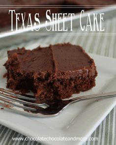 Texas Sheet Cake from www.chocolatechocolateandmore.com