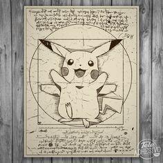 Vinilos Decorativos: Póster adhesivo Pikachu Vitruvio #poster #pared #picachu #vitruvio #leonardo #videojuego #pokemon #vinilo #TeleAdhesivo Pokemon Craft, Cute Pokemon, Pokemon Go, Fanart, Groudon Pokemon, Pikachu, Pokemon Sketch, Arte Nerd, Nintendo