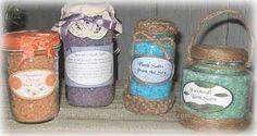 Homemade Bath Salts and Decorative Glass Jars