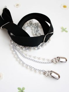 Silver Pearl Chain Suspenders - Women Suspenders - Fashion Suspenders for Women - Women's Suspenders  - Fashion Accessories by HooksAndLuxeNY on Etsy https://www.etsy.com/listing/261661842/silver-pearl-chain-suspenders-women