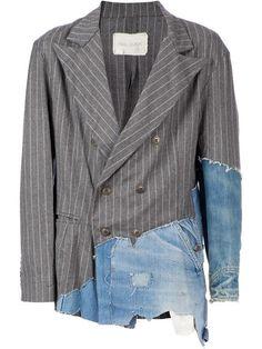 Greg Lauren Denim Panelled Pinstripe Blazer - L'eclaireur - Farfetch.com