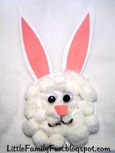 Cotton-ball Bunny craft! So fun and easy!