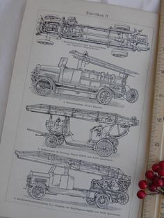 1925 Early Fire Trucks   German Text  2 Sided Print by CurioGal