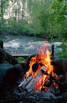An open fire ... put that next to a stream and it's pure relaxation. great memories doing just that :)