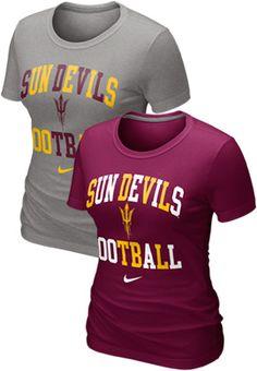 Arizona State University Sun Devils Football Women's Gridiron T-Shirt - Nike