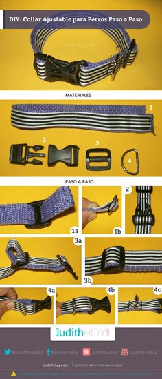 Evanescent Pet Dogs Accessories - How To Make Dog Collar - Salud de las Mascotas Dog Collars & Leashes, Dog Leash, Dog Harness, Diy Dog Collar, Dog Clothes Patterns, Dog Crafts, Dog Items, Puppy Clothes, Dog Pattern