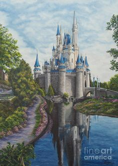 Cinderella Castle Art Print by Charlotte Blanchard. All prints are professionally printed, packaged, and shipped within 3 - 4 business days. Choose from multiple sizes and hundreds of frame and mat options. Disney Paintings, Fantasy Paintings, Disney Wall Art, Castle Painting, Famous Castles, Fantasy Castle, Cinderella Castle, Beautiful Castles, Fantasy Landscape