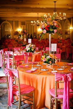 Bright destination wedding dinner setting