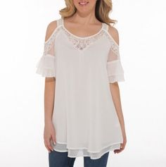love this top. It would fit so many body types too. It's really fun wearing these shirts with exposed shoulders too