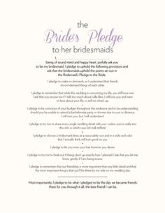 The Bride's Pledge to Her Bridesmaids