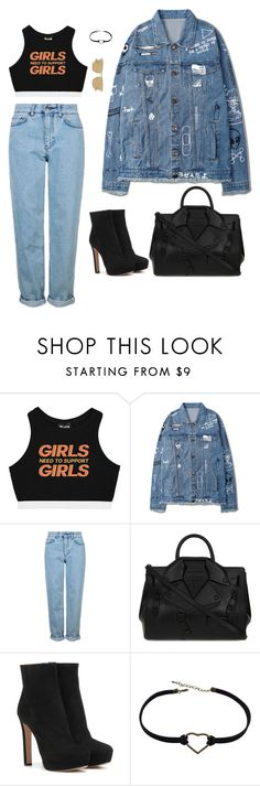 """""""Untitled #384"""" by guls ❤ liked on Polyvore featuring Minga, Topshop, Moschino, Prada and Le Specs"""