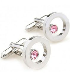 Red Crystal Silver Circle Cufflinks