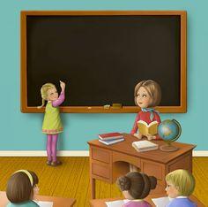 Mon petit coffret maîtresse      Editorial Hachette Back To School Art, Art School, Illustrations, Illustration Art, Picture Comprehension, Creation Photo, School Daze, Teaching Art, Kids Education