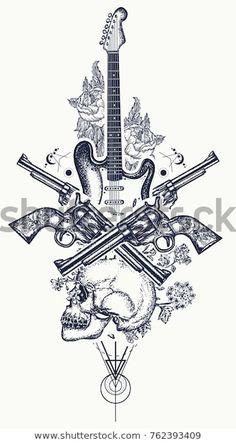 Guitar Tattoo Design, Music Tattoo Designs, Music Tattoos, Tatoos, Guitar Sketch, Guitar Drawing, Guitar Art, Revolver Tattoo, Arte Game Of Thrones