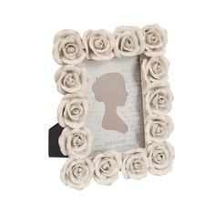 Porta-Retrato Rosas Provence - Foto 10x15 cm - Branco em Resina - 21,5x17,2 cm