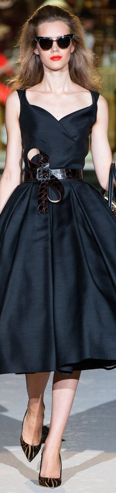 """Retro Style Navy Blue Silk Cocktail Dress Dsquared² Spring 2014 Ready-To-Wear #fashion"""