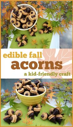 Edible Fall Acorns: A kid-friendly craft. You only need a handful of supplies and even young kids can participate!