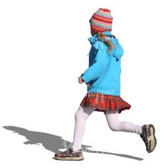 young girl in a blue coat running around
