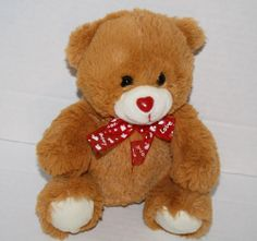 """Best Made Toys Teddy Bear Brown Plush Valentine Love Red Bow Stuffed Animal 7"""""""
