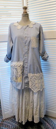 tattered Romantic upcycled Tunic dress coat by lillienoradrygoods, $49.50