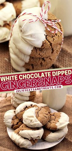 You don't want to miss out on this delicious cookie recipe! These gingersnaps come out perfectly soft and chewy. Dipping them in sweet white chocolate adds an elegant touch, making them an impressive Christmas dessert! It will be fun to box them up as a holiday gift idea!