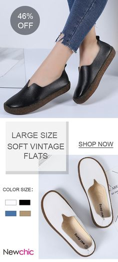 8cbdc03b05f US 28.09 Large Size Soft Leather Vintage Flat Loafers For Women Cheap  Womens Shoes