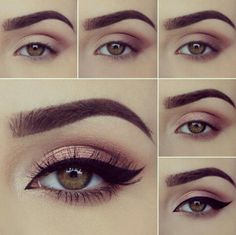 Resalta tus ojos este maquillaje con sombras rosas y delineado cat eye. Es muy sutil, así que es perfecto para toda ocasión.