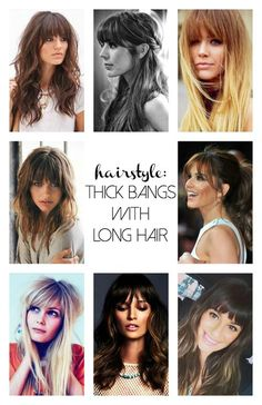 Love Long hairstyles with bangs? wanna give your hair a new look? Long hairstyles with bangs is a good choice for you. Here you will find some super sexy Long hairstyles with bangs, Find the best one for you, Dicker Pony, Cabelo Ombre Hair, Thick Bangs, Heavy Bangs, Full Bangs Long Hair, Haircut And Color, Pretty Hairstyles, Haircuts For Long Hair With Bangs, Full Fringe Hairstyles