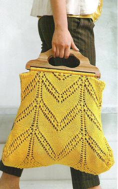 Love this yellow crochet bag.