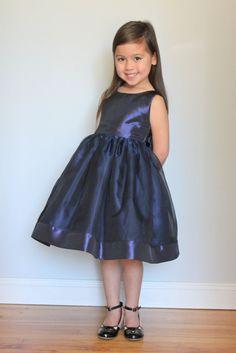 TARYN: Beautiful Organza V Back Dress in Navy by julianadesign