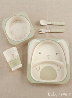 Complete with a bowl, plate, cup, spoon and fork this set is perfect for meal time | Natural Baby Bamboo Bunny 5-Piece Feeding Set | Baby Aspen