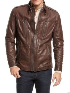 Men's Leather Jacket New 100% Genuine Soft Lambskin Slim Biker Bomber Coat -N276 | Clothes, Shoes & Accessories, Men's Clothing, Coats & Jackets | eBay!