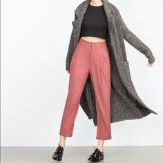 NWT ZARA Loose Fit Trousers - Salmon SZ S NWT ZARA Loose Fit Trousers in Salmon color. Size Small, the stock photos represent the color best. Never worn! Zara Pants