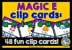 #MAGIC #E: #CVCE #CLIP #CARDS: #LONG #VOWEL TASK CARDS: #a-e, i-e, o-e, u-e  This hands-on fun pack, containing 48 clip cards, is an ideal resource for your Literacy Center. Children have to identify the missing long vowel sound in a word and clip the peg onto the corresponding grapheme (a-e, i-e, o-e or u-e).  #PHONICS #LITERACY #CENTER #SPLIT #DIGRAPHS