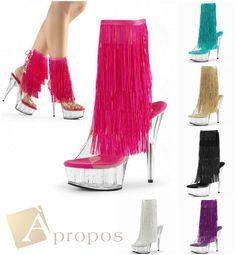 Stiefeletten 10cm Pumps Stilettos Ankle Boots Italy Plateau Acryl Fransen