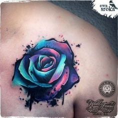 Watercolor rose tattoo by Ewa Sroka #TattooIdeasDibujos