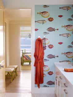 Cole and Son fish wallpaper | Bahamas house by Marshall Watson bathroom
