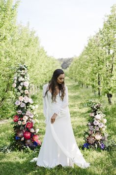 Flower Filled Orchard Wedding Inspiration with beautiful bold bright flowers, dreamy ombre details and beautiful gowns by Cleo Borello at Core Cider House in Western Australia.