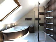 Slanted Ceiling, Attic Bathroom, Bathroom Renovations, Planer, New Homes, Bathtub, Loft, Interior Design, Luxury