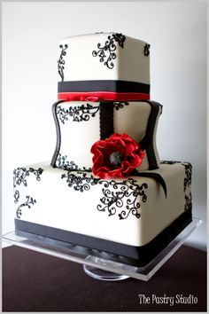 Modern Black, Red & White Chic Wedding Cake