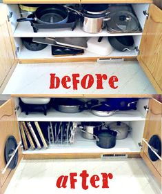 Is your pots and pans cupboard as chaotic as mine was?? Check out these simple tips that will have you organized in no time.