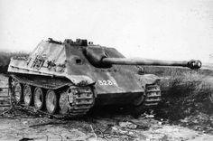 German tank destroyer Jagdpanther, shot down during the battle near lake Balaton, Hungary, 1945.