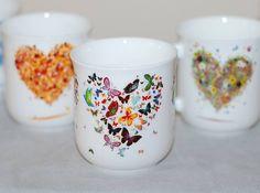 Kubki ćmielowskie z motywem serca Porcelain Cmielow cups with heart