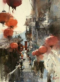 TOWN OF JIOUFEN BY CHIEN CHUNG-WEI. A quaint little town clinging to a mountainside not far from Taipei. A favorite place for tourists to shop in the narrow steep streets. Good food and vistas of Taiwan also.