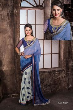 Buy Blue Georgette Party Wear Sarees Online in low price at Variation. Huge collection of Party Wear Sarees for Party, Festivals, Engagements and Ceremonies. #party #partywearsarees #sarees #onlineshopping #latest #lowprice #variation. To see more - https://www.variationfashion.com/collections/party-wear-sarees