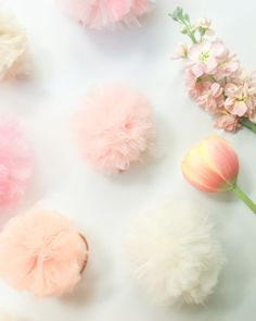Easy to make DIY tulle pom pom hairbands by Anne Weil of Flax & Twine. These pom poms will brighten your line up of accessories in a snap. Craft Stick Crafts, Easy Crafts, Easy Diy, Craft Ideas, Tulle Poms, Tulle Tutu, Pom Poms, Diy Jewelry Tutorials, Pomsky