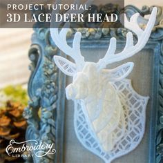 3D Lace Deer Head (PR2148) from www.emblibrary.com